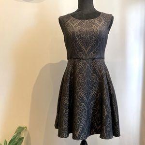 Forever New Black Fit & Flare Dress Damask detail